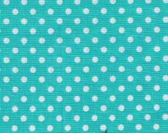 HALF YARD - Lecien - Color Basic - 4505-LL Aqua Pool with White Small Dots - Japanese Import Fabric