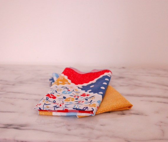 colorful vintage cloth napkins set of two multi pattern polka dot floral gingham