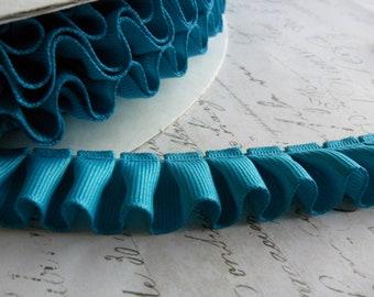 Turquoise Grosgrain Box Pleat  Ruffle Trim 7/8 inch