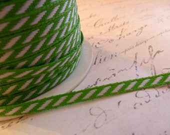 Petite White and Spring Green Diagonal Stripe Ribbon 1/8 inch wide
