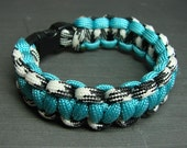 Black and White Camo and Aqua Blue paracord survival bracelet