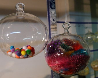 Clear Glass Ornament with Pom Poms - Hand Blown and Sculpted by Jenn Goodale
