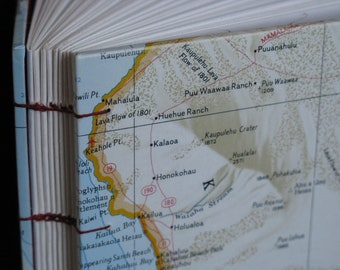 Big Island of Hawaii Map Travel Journal with Coptic Binding and Aloha made by Kristin Crane