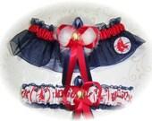 Handmade Wedding Garter Set  Boston Red Sox with Marabou Pouf navy
