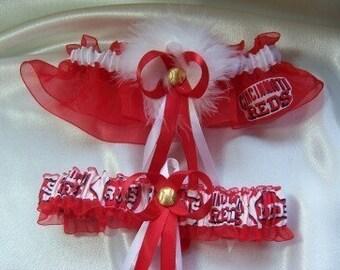 Cincinnati Reds Wedding Garter Set with Marabou Pouf  Handmade  Keepsake and Toss