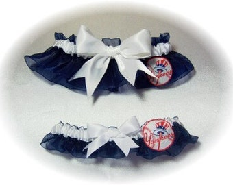 New York Yankees Wedding Garter Set New York  NY  Handmade   Keepsake and Toss  NY Bridal nww