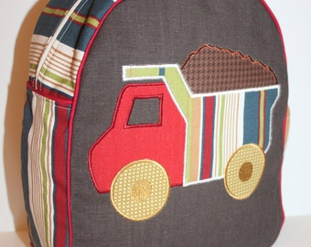 Stripe and Brown Backpack for a preschooler - shown with Dump Truck Applique