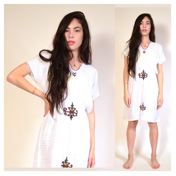 vintage gauzy white cotton embroidered dress M L
