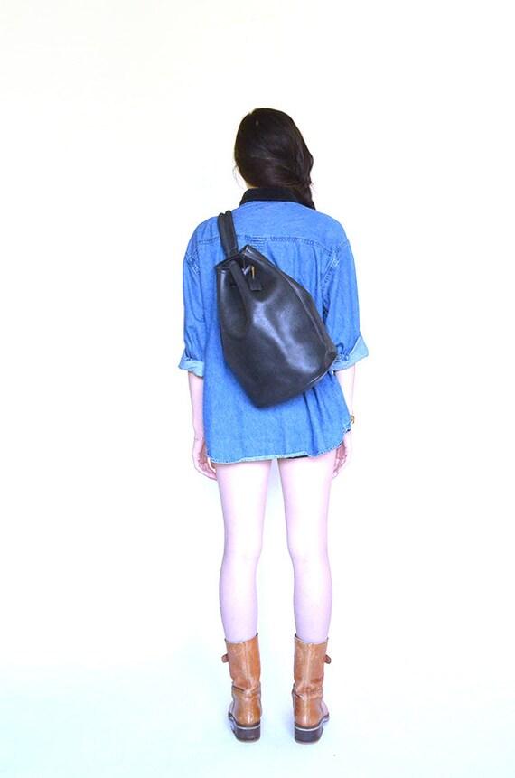 vintage black leather COACH bucket backpack