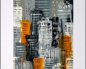 Orange & Grey original cityscape painting on mountboard