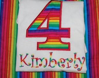 Rainbow Custom Embroidered Monogrammed  Bodysuit Birthday Princess Size newborn to 5T t shirt