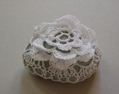 Crocheted Lace Stone, Indonesian River Rock made with White Thread, Light Blue Stone, Small, Handmade by Monicaj