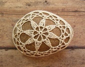 Wedding, Table Decorations, Crochet Lace Stone, Original, Handmade, Nature, Home Decor, Collectible, Favor, Folk Art, Beige