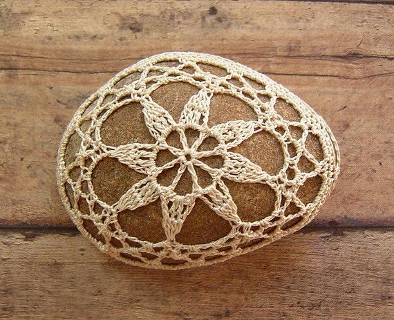 Wedding, Table Decorations, Crochet Lace Stone, Original, Handmade, Nature, Home Decor, Collectible, Favor, Folk Art, Beige