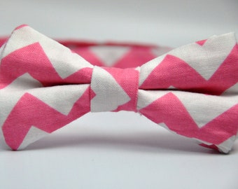 Boy's Bow Tie Pink and White Chevron Bowtie
