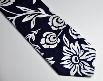 Navy Blue Daisy Toddler Necktie - Childs Tie