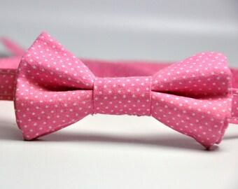 Little Boy's Pink Pindot Bow Tie