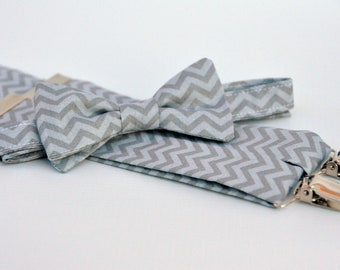 Men's Bow Tie and Suspenders Gray Tonal Chevron