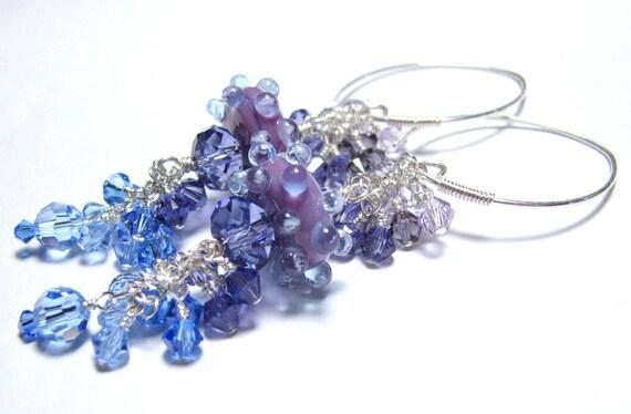 Long purple dangle bead earrings Swarovski crystals handmade silver earring wires HAZE lilac, tanzanite, sapphire blue