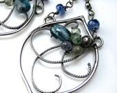 Moss Kyanite and Sapphire Earrings