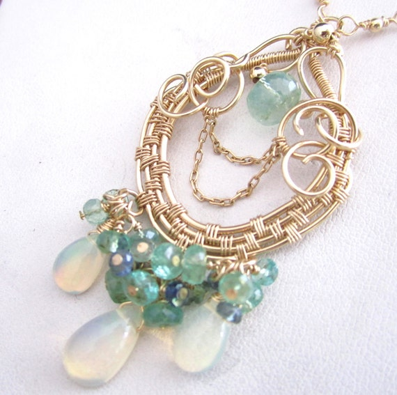 Emerald and Opal Cloud  - Gold fill, Ethiopian Opal, Emerald and Sapphire Wrapped Necklace