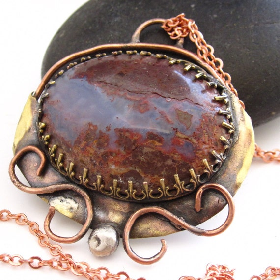 Fog Rolling Across the Hillside - Trax Jasper and Mixed Metal Necklace