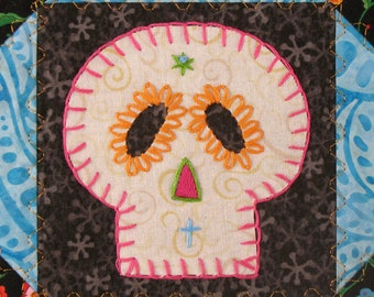 Sugar Skull Quilt, Orange and Turquoise