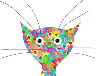 Cat Art Print -  Flower Cat Print - 5x7 Print in 8x10 Mat - Cat Decor - Nursery Cat Decor - Cat Illustration - Cat Lover Gift - Cat Gift