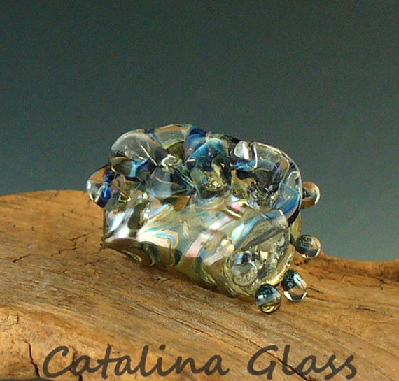 Lampwork Beads Handmade by Catalina Glass SRA  Silver Blue Conch Focal