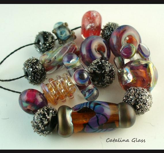 Lampwork Glass Beads  handmade by Catalina Glass  sra   Burgundy, Amber, Silver Designer Set