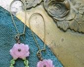 Vintage Glass Flower and Leaf Earrings