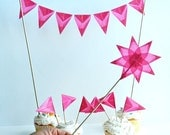 Valentine Pink Cake Topper, Mini Bunting for Wedding Cakes, Birthday Parties - Handmade with Rainbow Color Kite Paper and Wool Felt Set