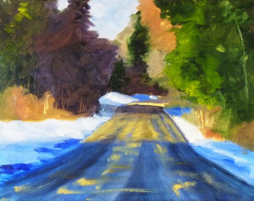 winter landscape oil painting original on canvas 11x14. Black Bedroom Furniture Sets. Home Design Ideas