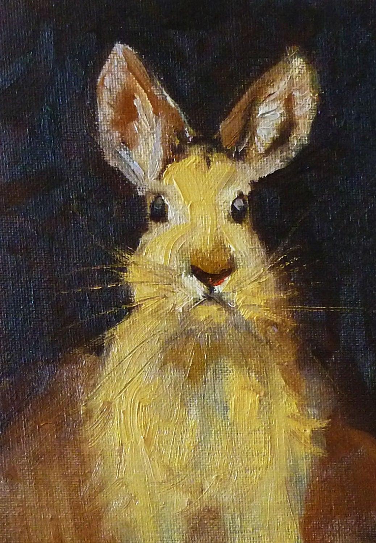 Rabbit Portrait Oil Painting Jack Rabbit Small Animal On