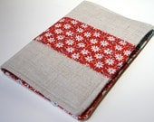 Notepad Holder Organizer List Taker - Country Flowers Red Blue Linen