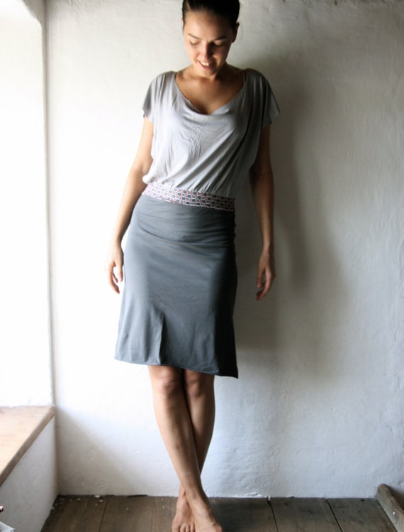 Grey Tshirt dress in jersey for women - short sleeved tunic dress