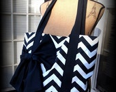 Handmade black and white Chevron tote bag