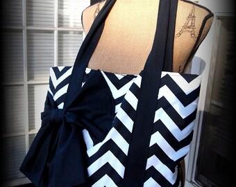 Handmade black and white Chevron tote bag