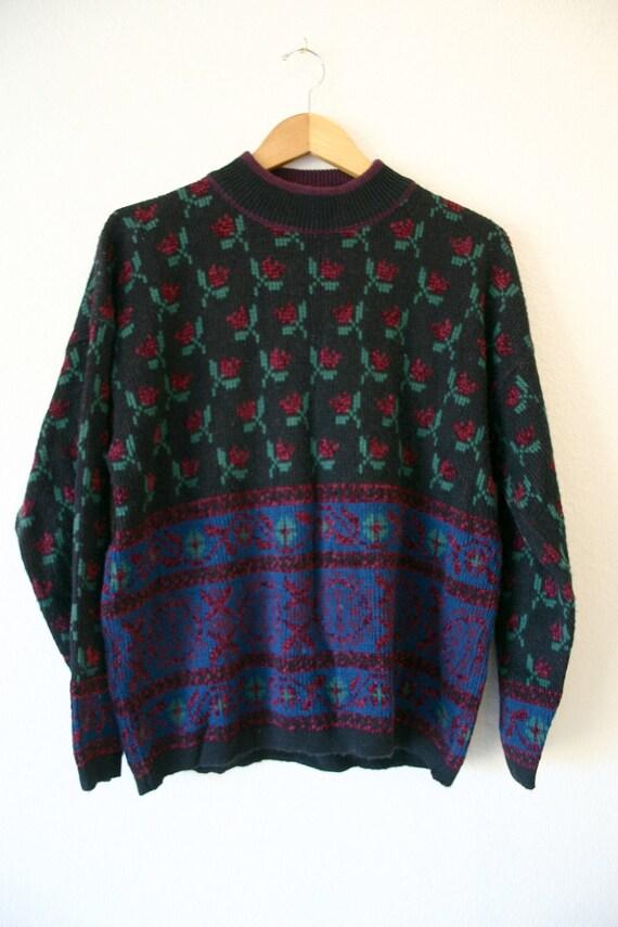 Ladies Vintage early 90's Rose FLORAL Pattern mock turtle neck KNIT Sweater