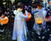 PR-207 Artistic Ephemera 8 x 10 Print - Victorian Children Garden Lighting Chinese Lanterns - Also Available as Small Prints and Postcards