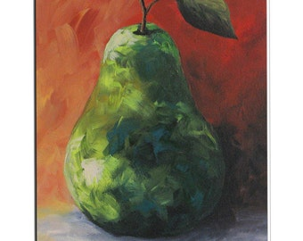 "Crazy Pear  8"" x 10"" Original Still Life Pear Painting on Ampersand Claybord by Torrie Smiley"