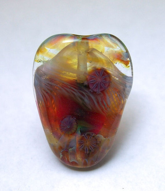 Spring Cleaning - Handmade Lampwork Glass Focal Bead - Ribbons