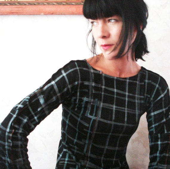 Changing Fate - iheartfink Handmade Hand Printed Plaid Reversible Long Top