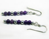 Amethyst Bead and Silver Filled Earrings