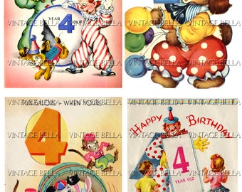 Vintage 1940s Children Animal Circus Clowns Balloons AGE 4 Birthday Greeting Card Digital Download 202 - by Vintage Bella
