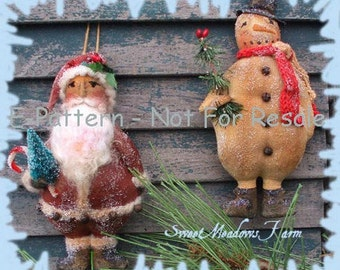 Primitive E-PATTERN Snowman and Santa Ornie Dolls