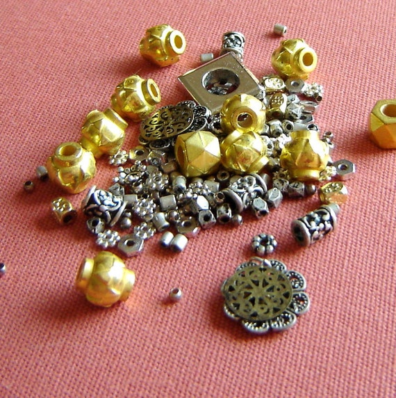 Bali Style Gold and Silver Bead and Spacer Mix - daisy spacers, faceted rounds, ornate tubes, etc.