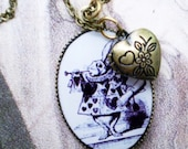 Alice In Wonderland Rabbit Necklace- Late For A Very Important Date