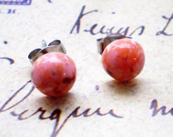 Dainty Dots- Tiny Pink Vintage Stud Earrings