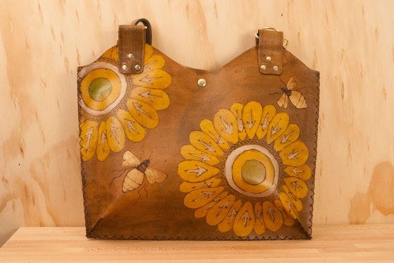 Leather Tote - Yellow, gold and antique brown - Emma pattern with flowers and bees